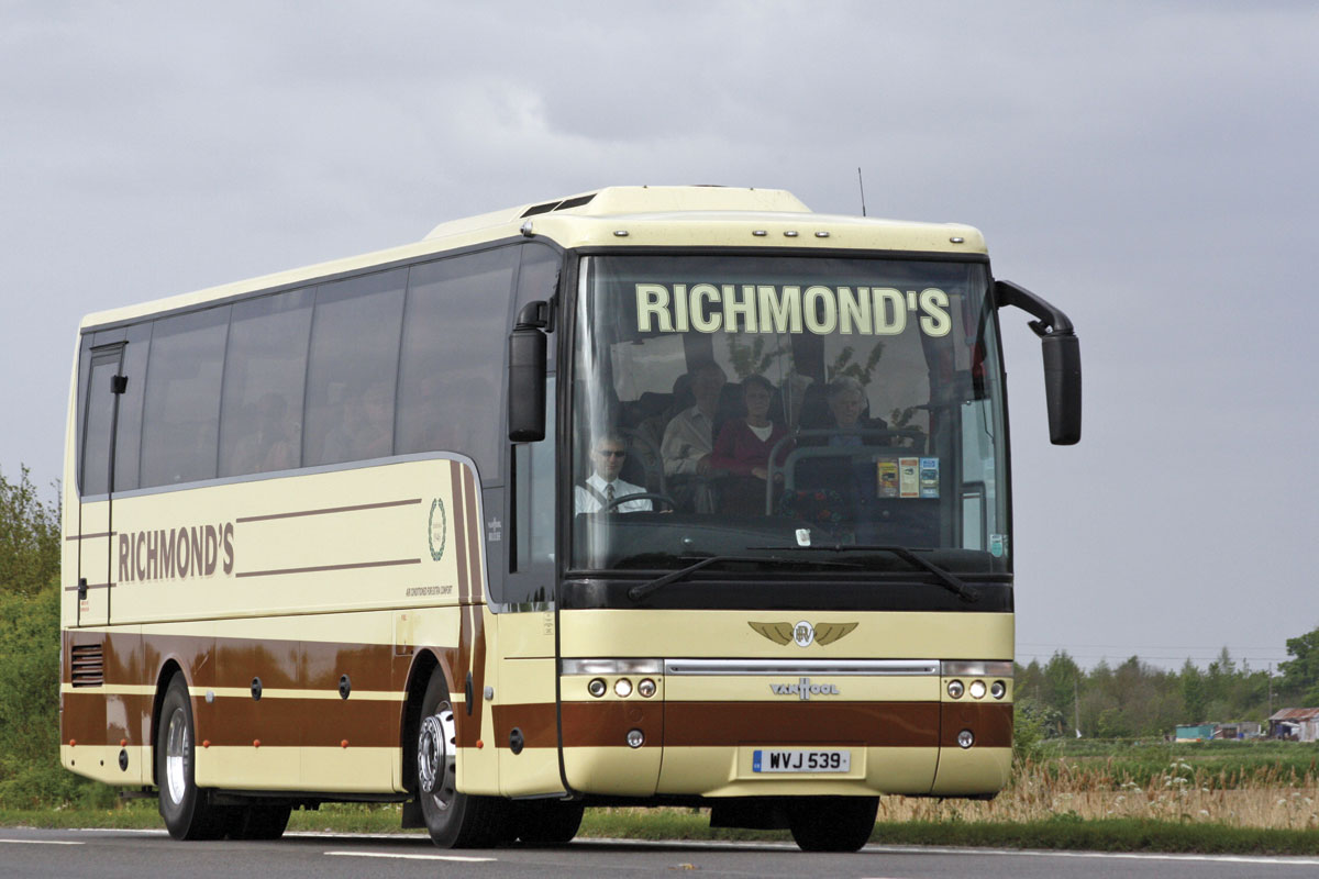 Returning from the Spalding Flower Parade in 2009 when it was two years old, this Volvo B12B Van Hool Alizee is the oldest of only three Volvos now operated in a coach fleet that was once predominantly Volvo