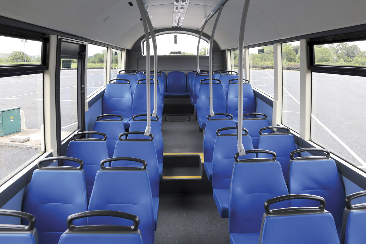 Interior of the 9.5m StreetAir EV WF, first built in 2012.