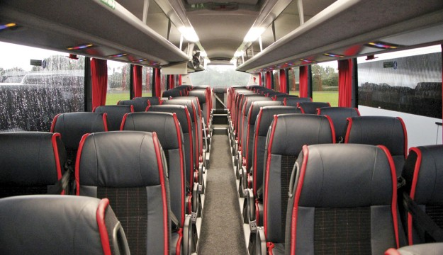 The Scania Interlink Finesse interior. Note the lower side window line and less sunken gangway.