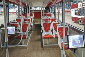 The lower deck incorporates two wheelchair positions with dedicated screens showing a live feed from the forward facing camera upstairs