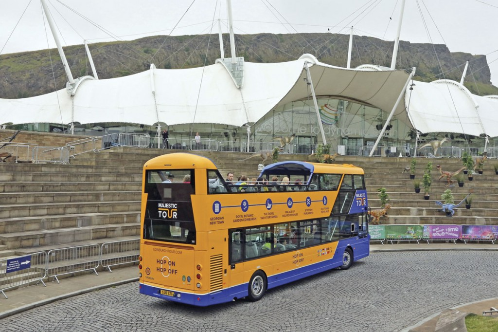 The treatment of the inner end of the covered area is apparent from this view of The Majestic Tour vehicle outside Dynamic Earth