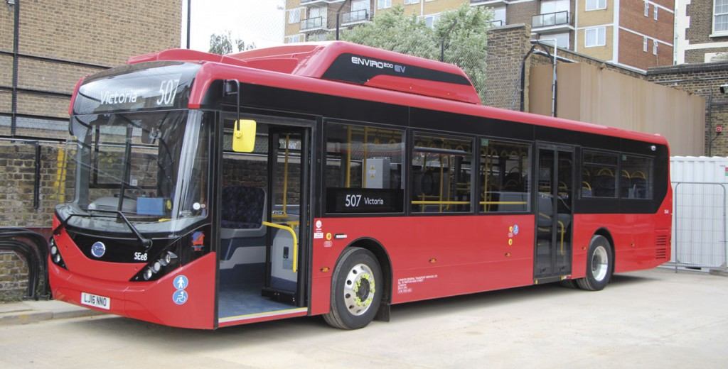 Apart from the battery pack on the roof, the Enviro200EV looks much like any other London single deck bus