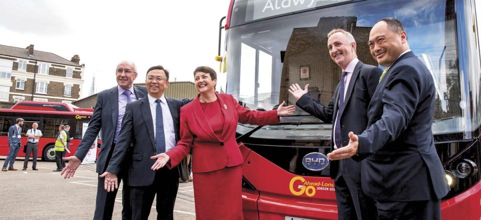Celebrating the launch are; Leon Daniels, MD Surface Transport, TfL; Wang Chuanfu, Chairman, BYD; Val Shawcross, Deputy London Mayor for Transport; John Trayner, MD Go-Ahead London; Isbrand Ho, MD, BYD Europe