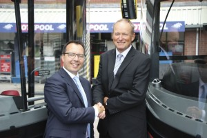 National Express' Group Finance Director, Matt Ashley and National Express West Midlands' MD, Peter Coates, celebrate at the launch