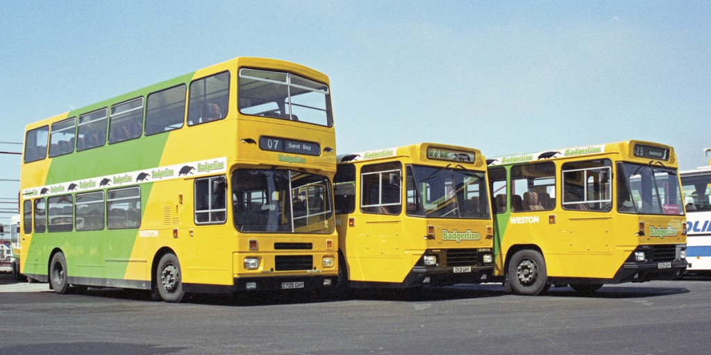Newly delivered Volvo buses at Badgerline's Weston Super Mare depot in May 1987.