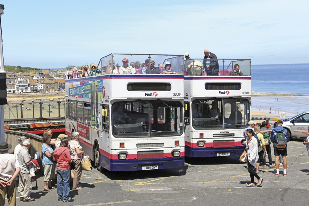 Taking on a good load at St Ives Malakoff bus station, high above the town's harbour.