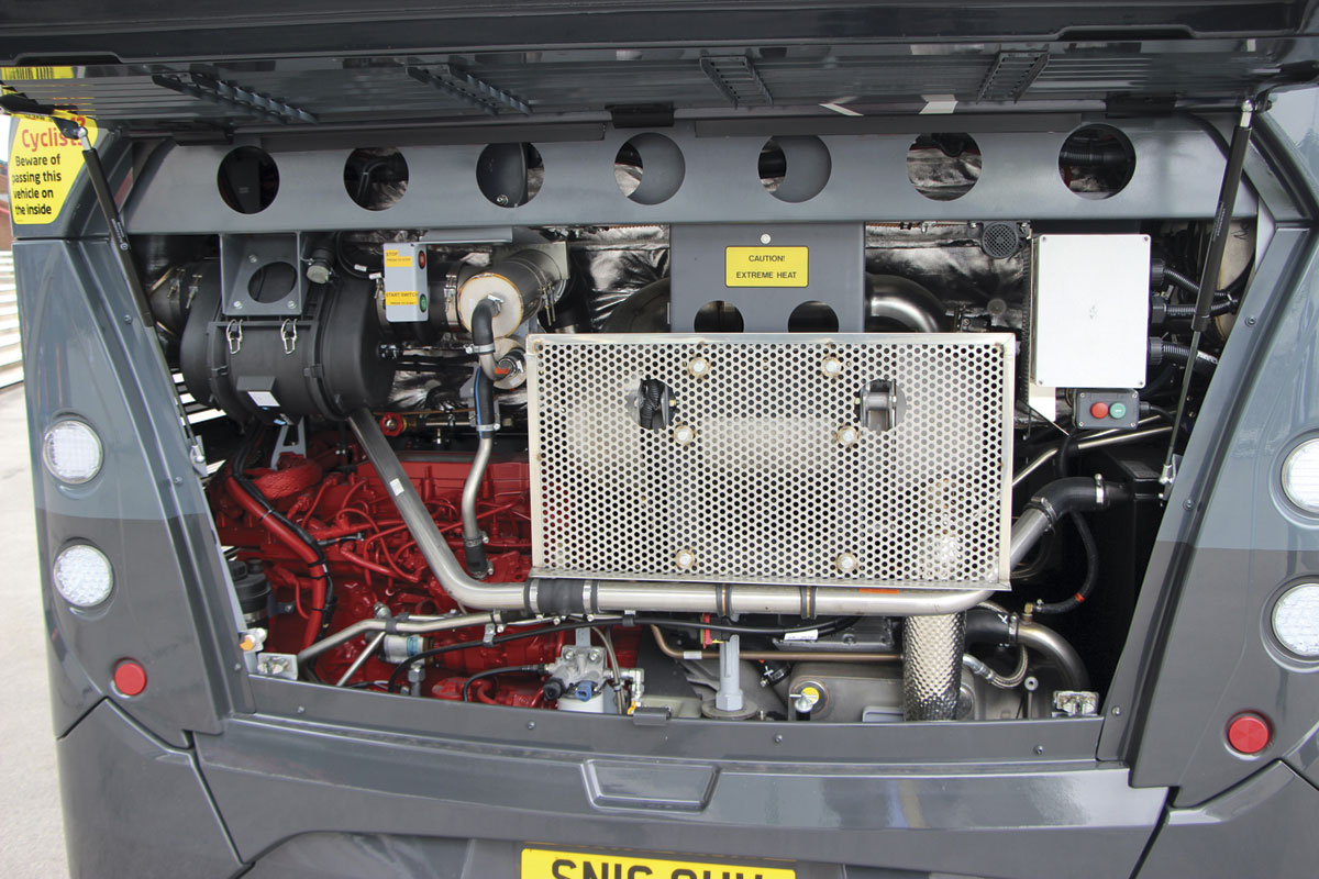 The Enviro400 MMC is powered by a 250hp Cummins ISB6.7 unit complete with Stop/Start facility