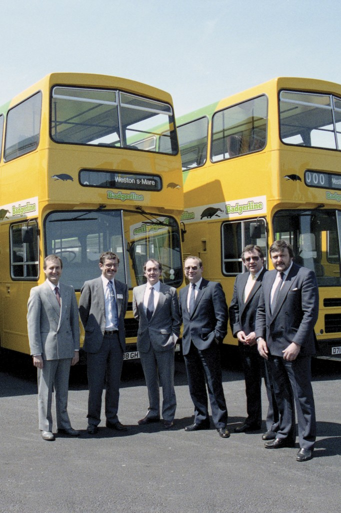 The formal handover of the Volvo buses to Badgerline in May 1987 with Volvo's Sandie Glennie third from left.