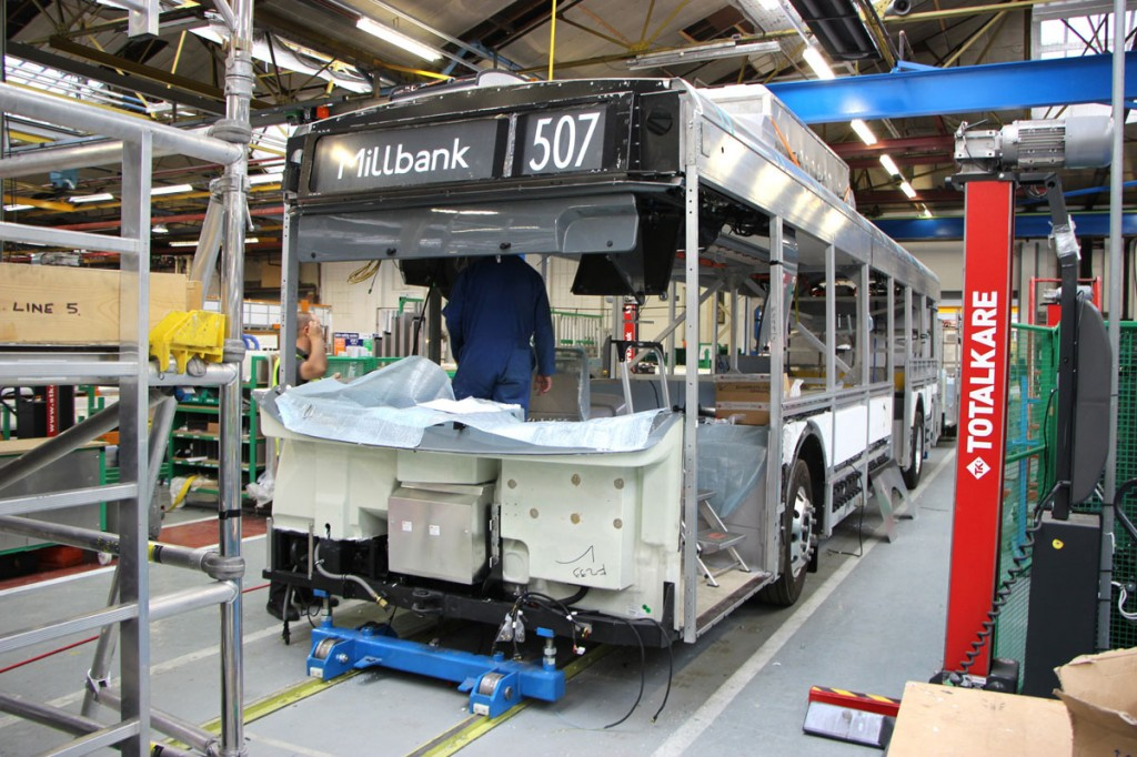 The new buses have bodies based on that of the Enviro200 MMC and all were built at the Falkirk plant in Scotland on a line created specially for them -pic1