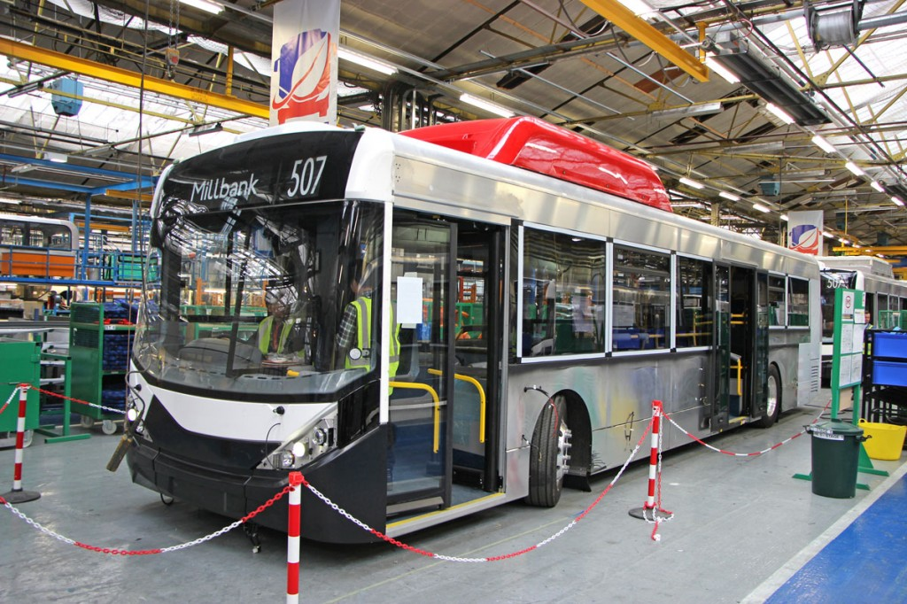 The new buses have bodies based on that of the Enviro200 MMC and all were built at the Falkirk plant in Scotland on a line created specially for them -pic2