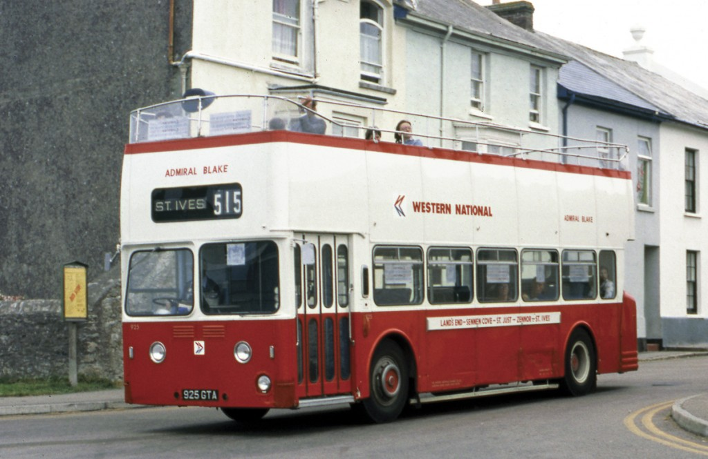 The sun didn't always shine in bygone summers. The open top Leyland Atlantean operating on the coastal service passes through St Just in August 1977.