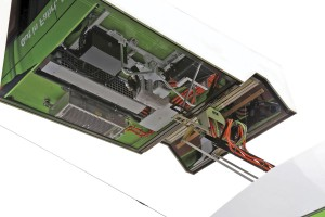 A mirror finish to the underside of the charging pole provides a view of the bus' roof mounted equipment