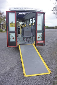Full length fully opening rear doors and shallow ramp angle at the rear. A version with a coach style rear end is also available