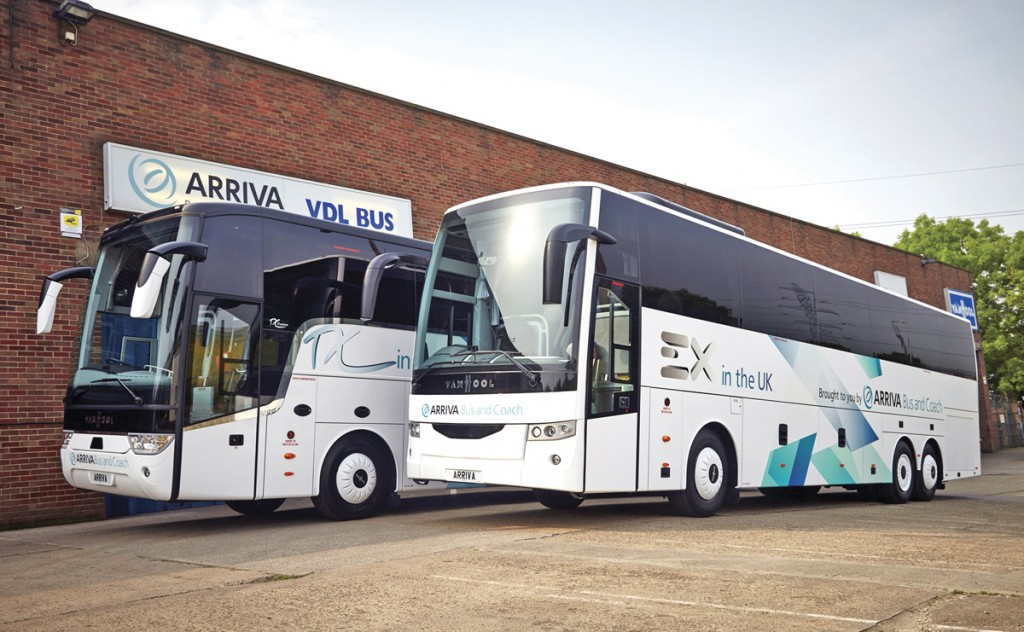 Examples of the Van Hool TX and EX range on the forecourt of Arriva Bus and Coach's premises.
