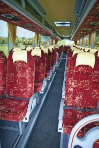 The interior of the Van Hool TX15 Alicron offered by Arriva Bus and Coach.