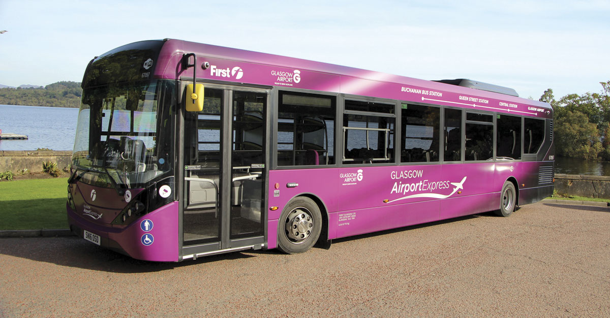 One of the ADL Enviro200 MMCs that operate the 500 Airport Express service to Glasgow Airport