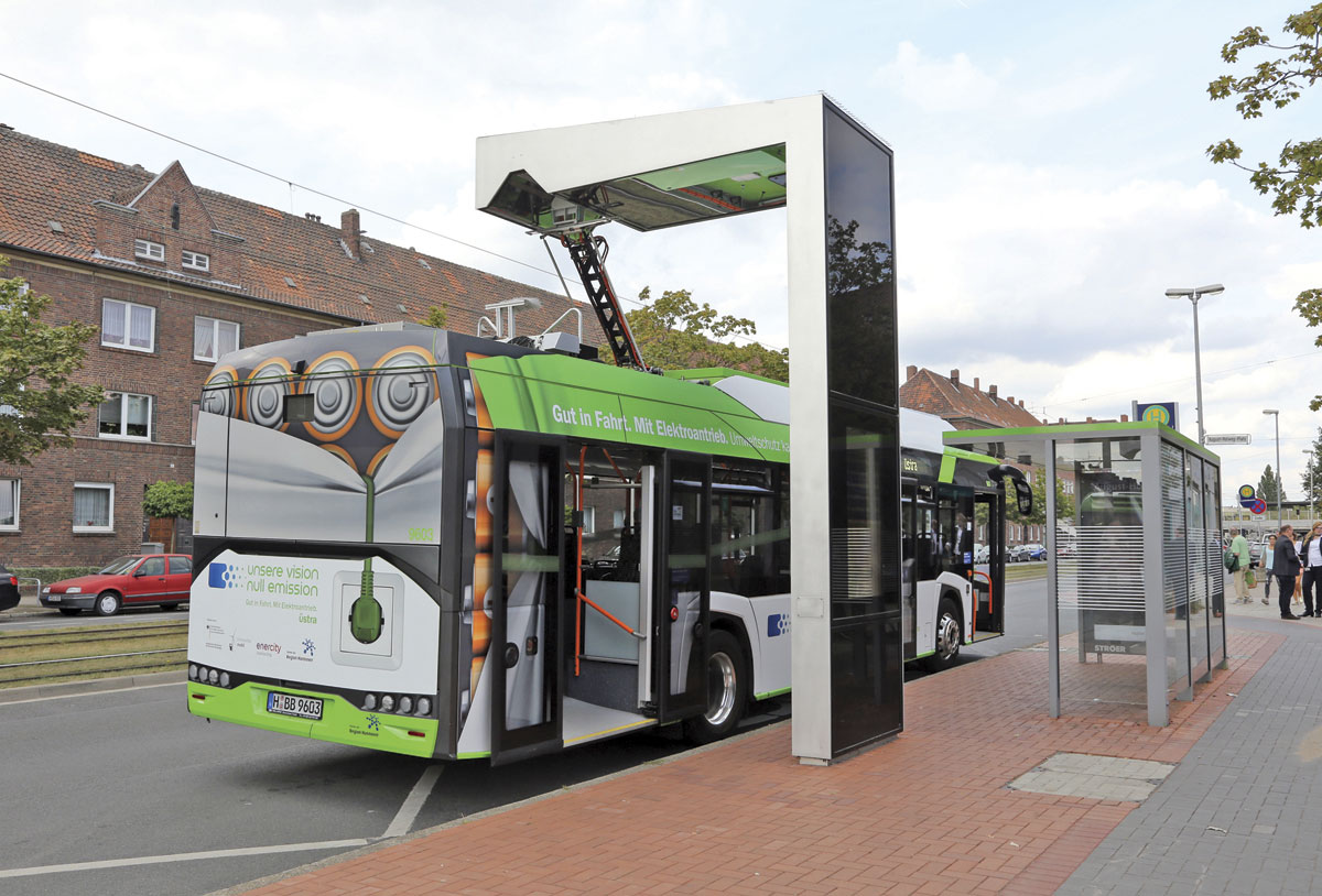 Solaris Urbino E12 for Hannover charging at the terminus in the south of the city