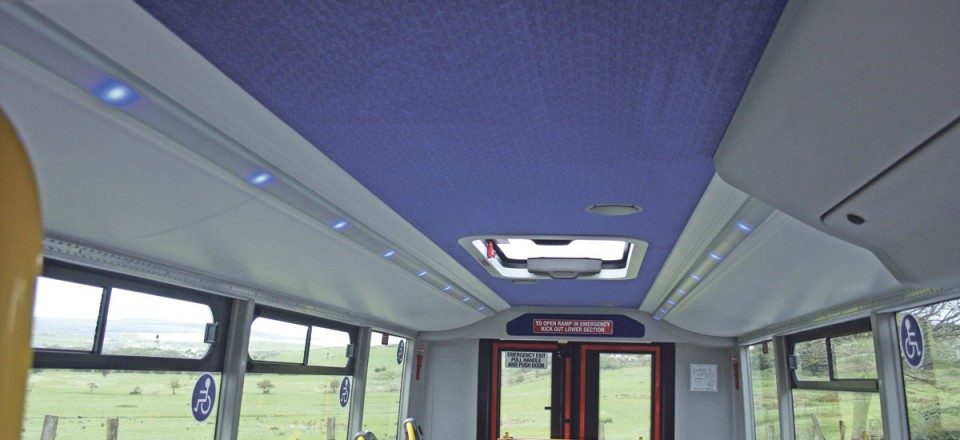The one piece ceiling incorporates full length LED lighting and a glazed roof hatch