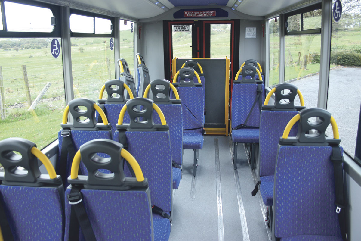 This example is fitted with Rescroft fully belted seating including tip and folds to create wheelchair space