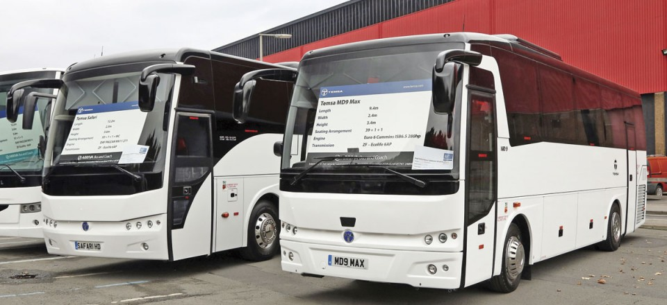 Arriva's exhibits in the outdoor area included examples of the Temsa MD9 and Safari as well as a left hand drive Van Hool EH15