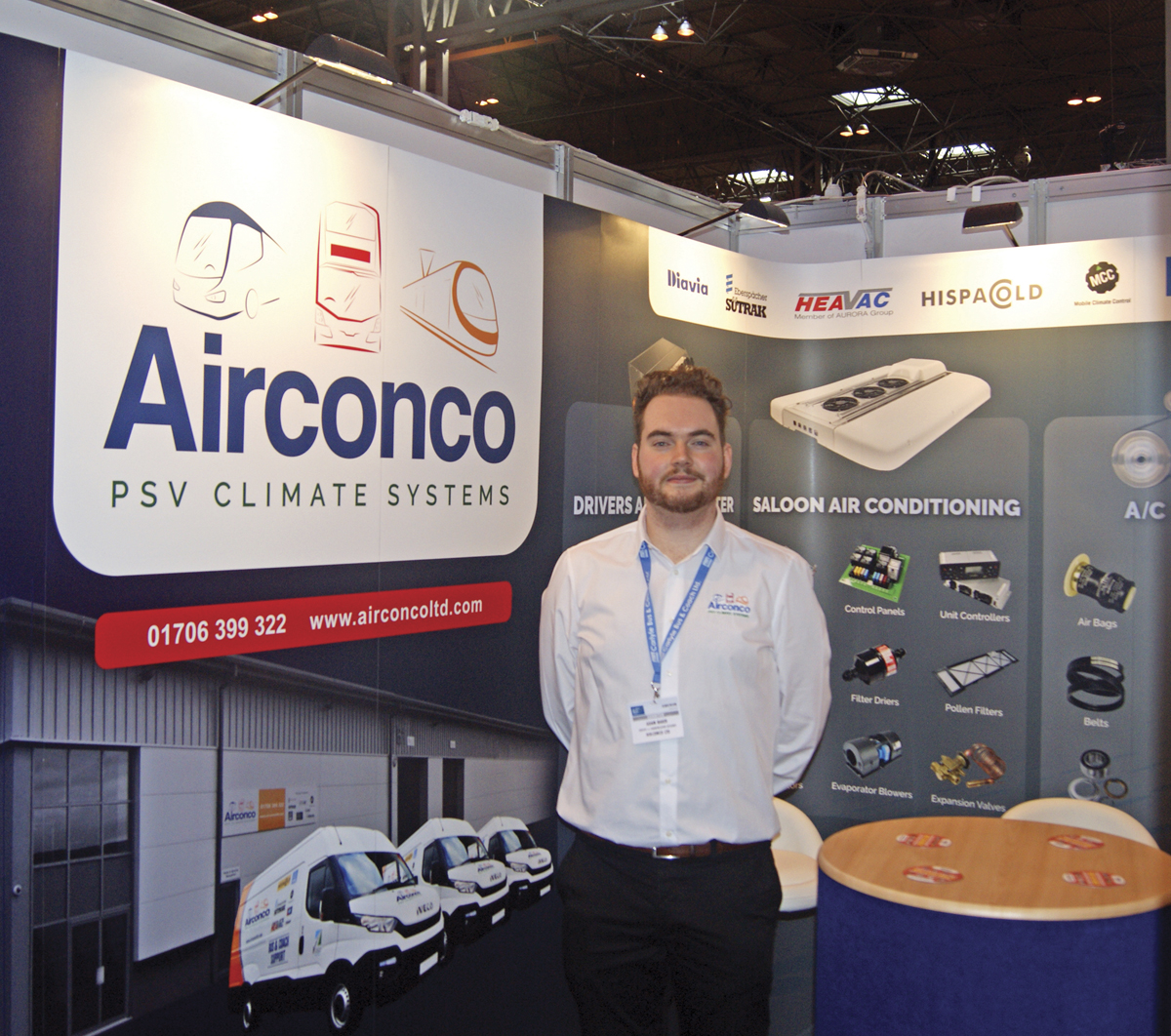 Adam Baker from Airconco alongside his company's new look logo.