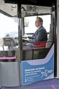 Detail features of the new Enviro200s include the retractable driver's screen demonstrated by driver representative Dan Everest