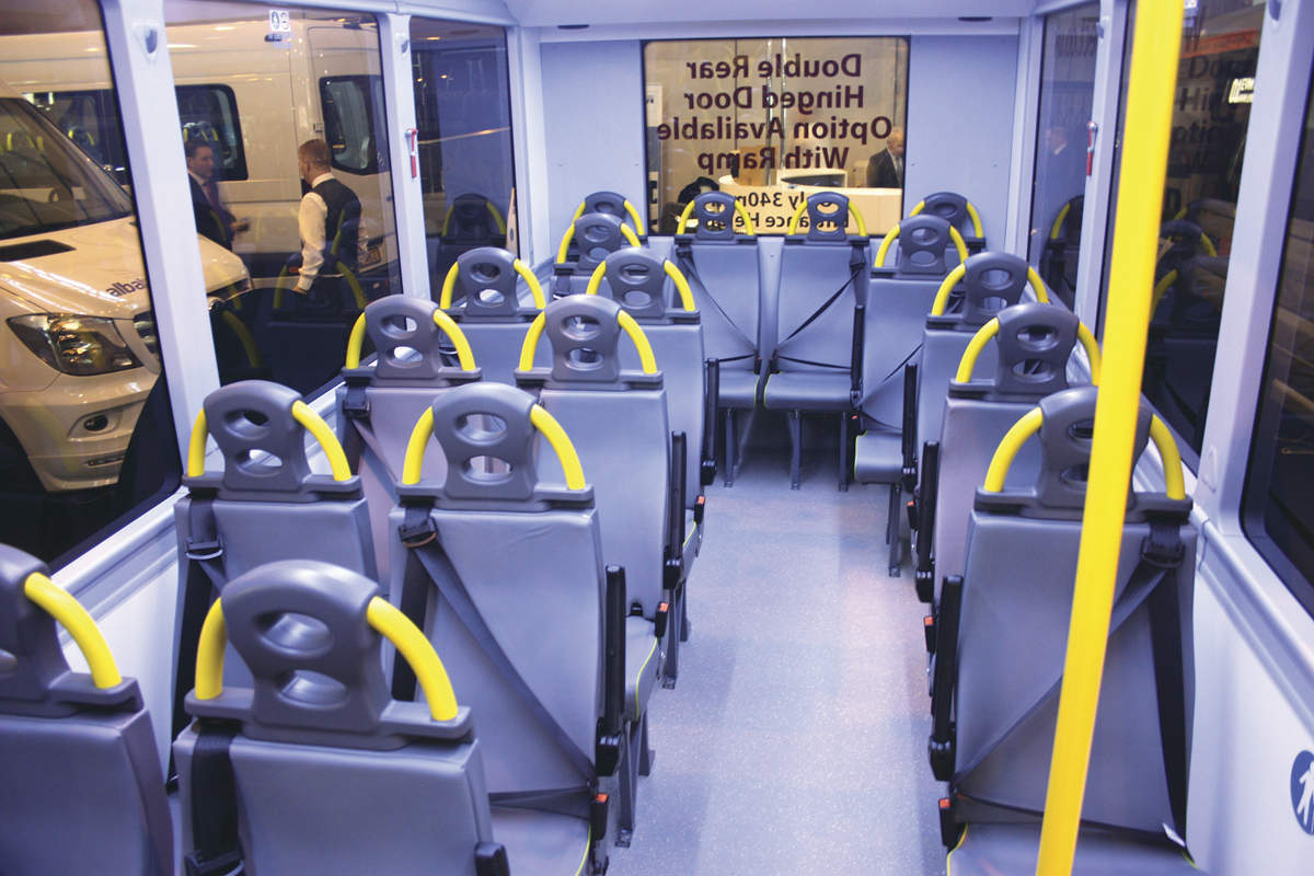 Interior of the new EVM Metro LF directly wheelchair accessible minibus.