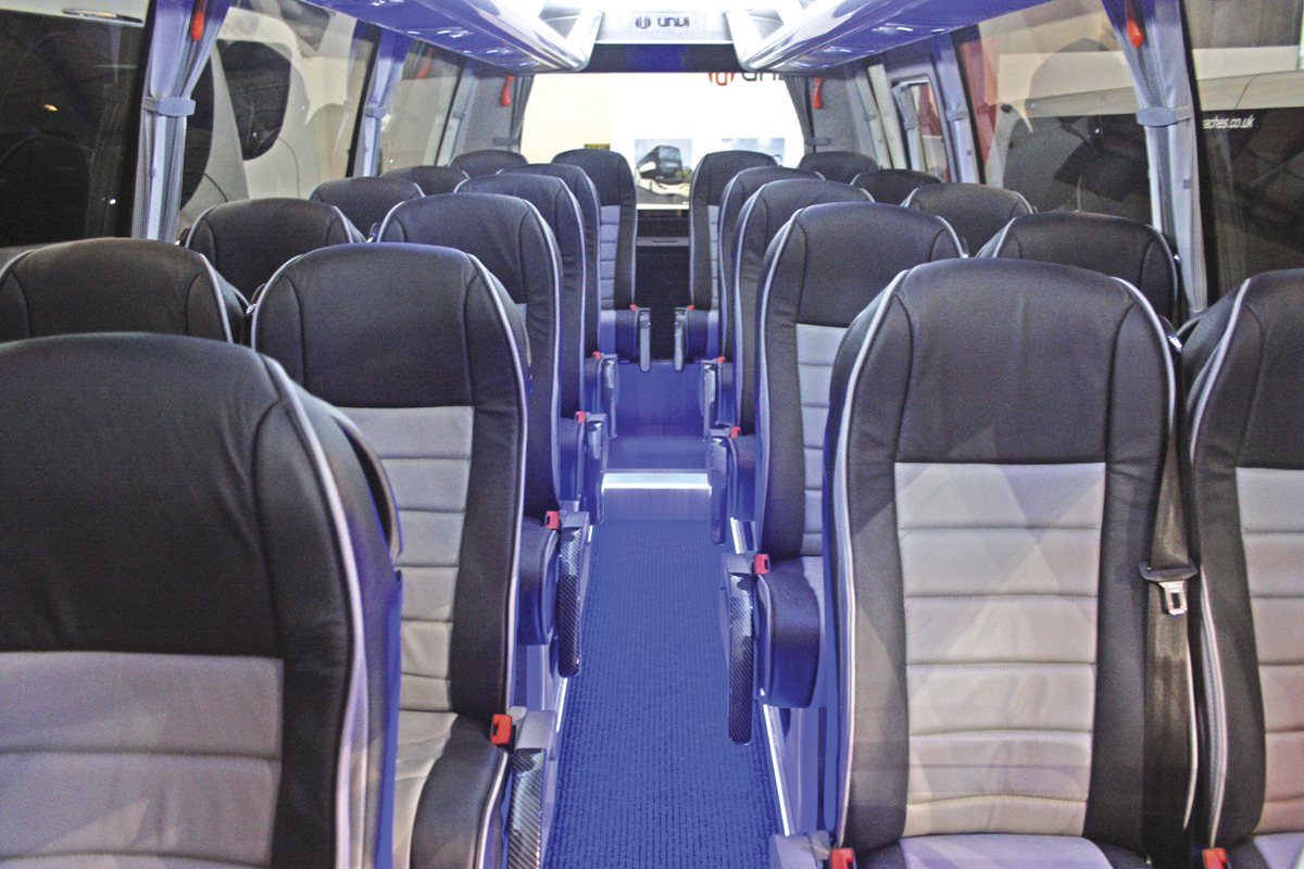 Interior of Unvi's new Compa T 25 seater.