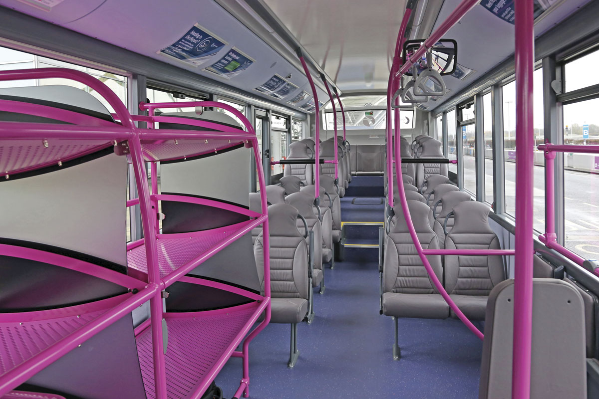 Luggage racks with 360kg capacity are installed on the front offside of the new Enviro200s