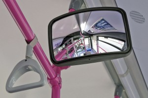 Mirror for wheelchair bay occupants