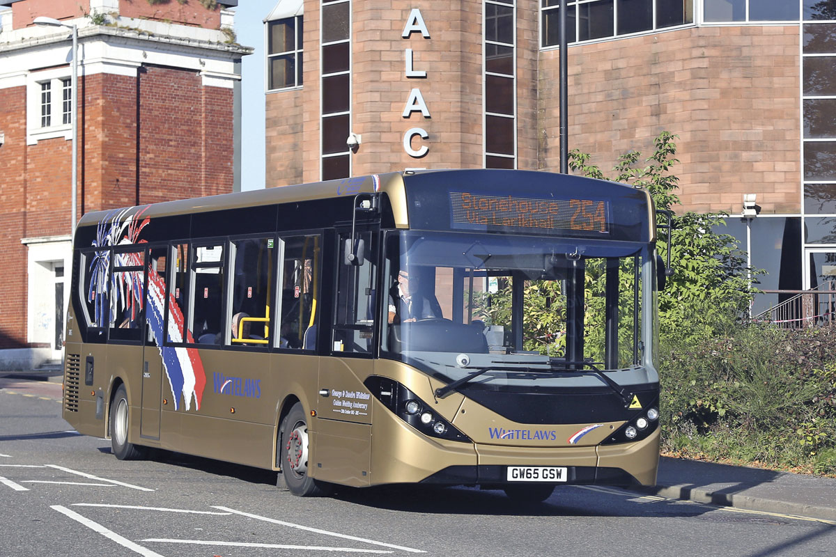 The Enviro200 appeals to operators of all sizes. This example carries a special livery to commemorate the Golden Wedding of the proprietors of Whitelaws