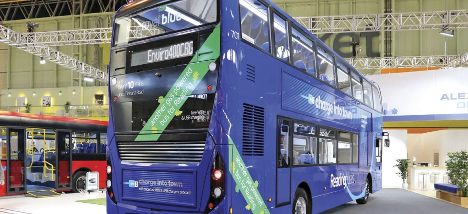 The Enviro400 CBG biomethane gas powered double decker on a Scania chassis was launched at Euro Bus Expo