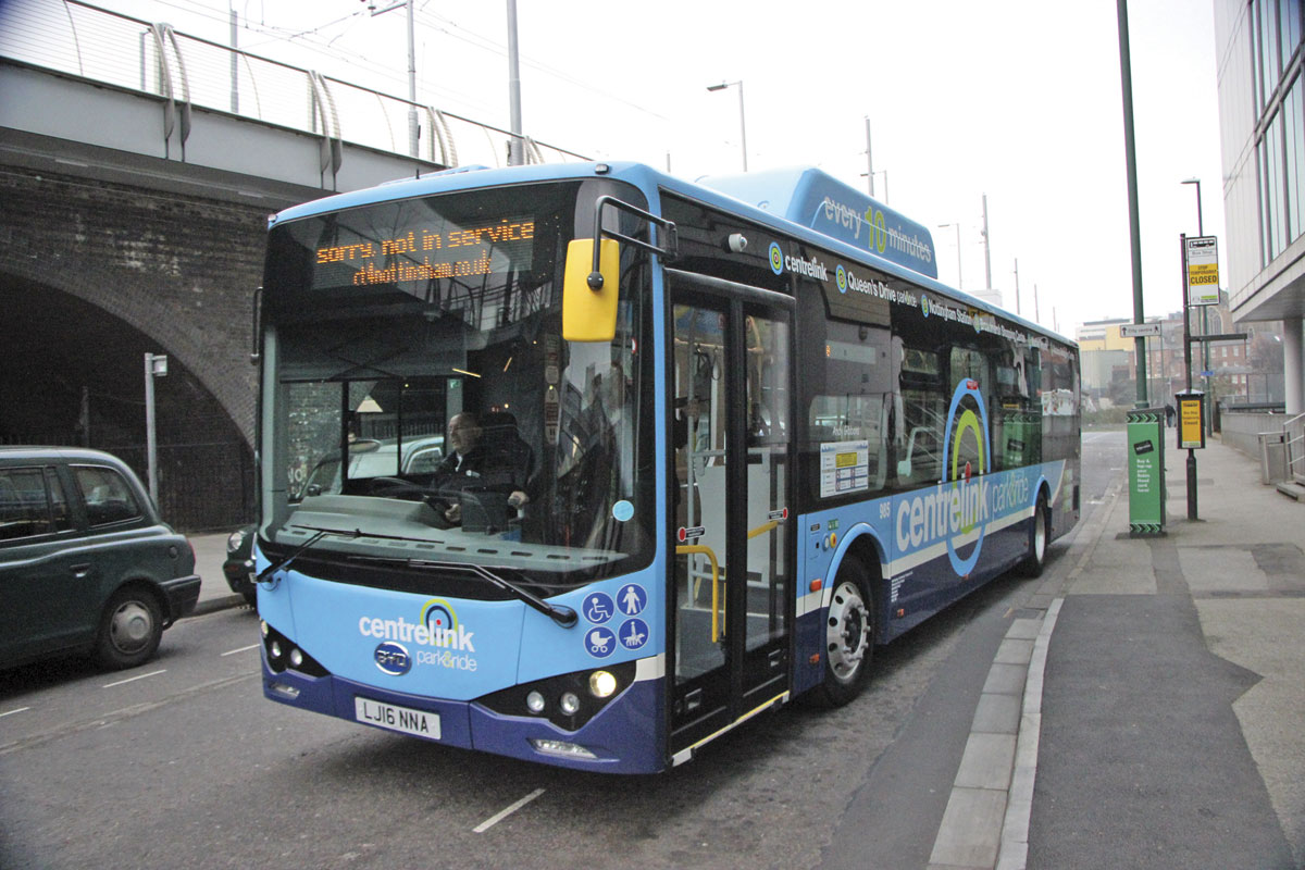 A nearside view of one of the buses on the road