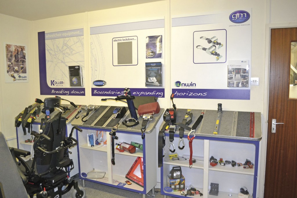 A selection of seats, restraints and fixings for customers to view in their demo room