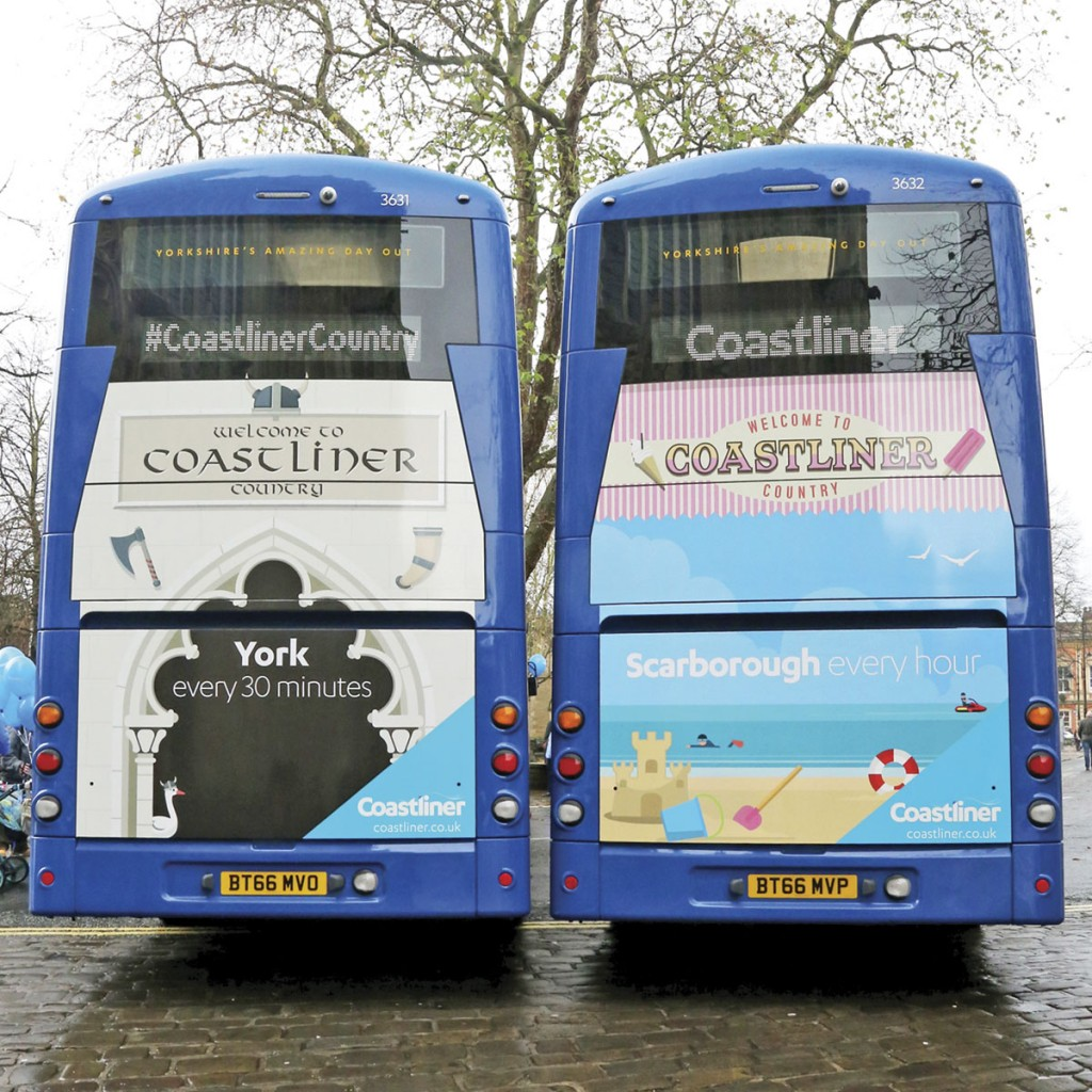 Each vehicle showcases a place of interest on the Coastliner route, York and Scarborough featured at the launch
