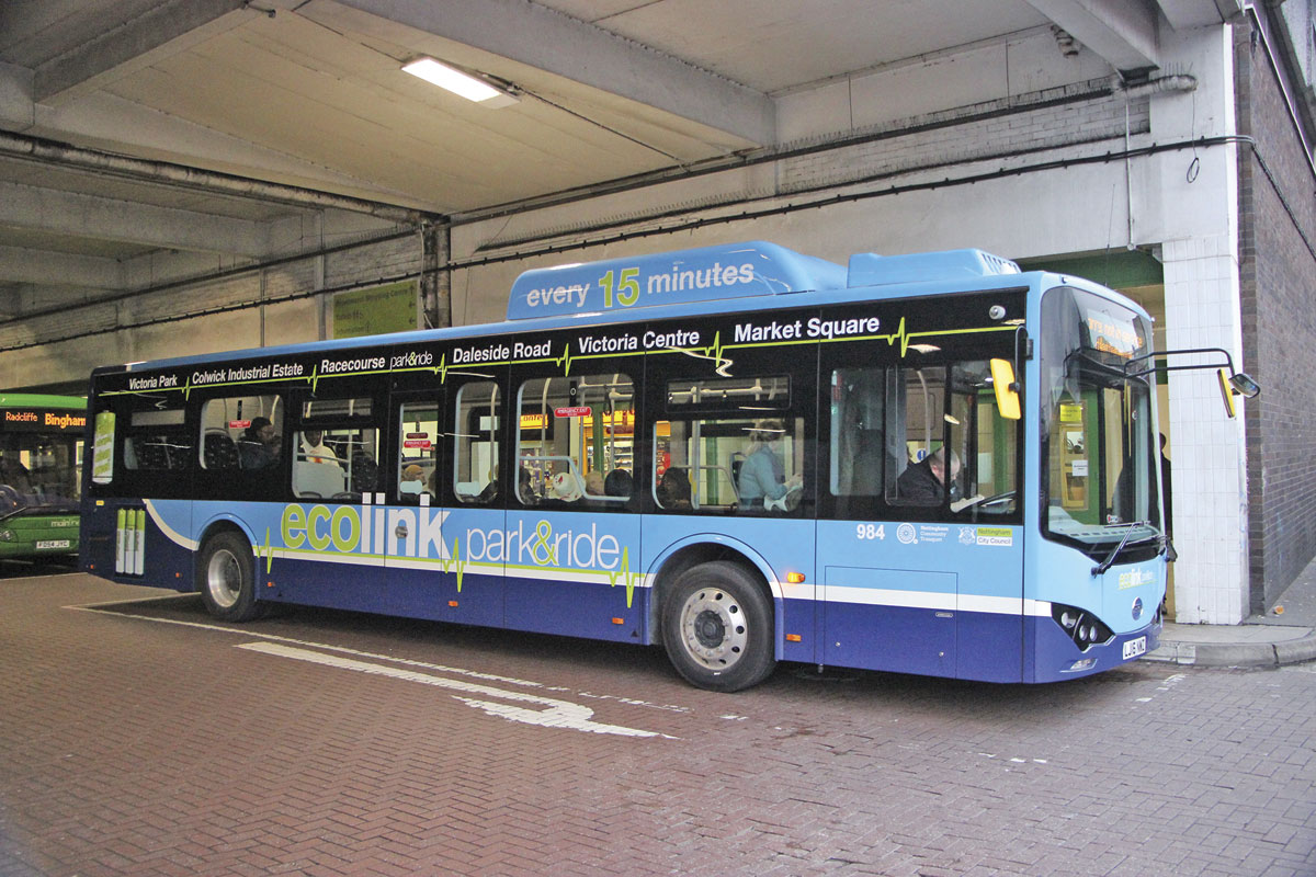 One of the BYDs in service awaiting departure from Broadmarsh Bus Station