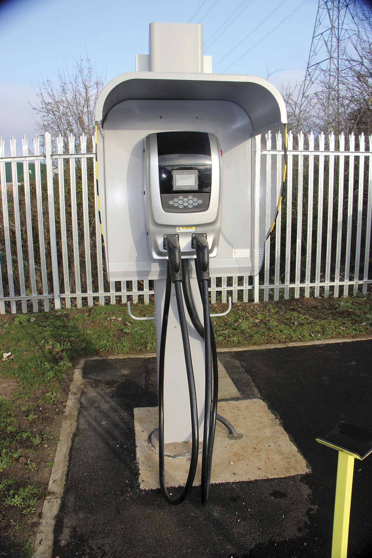 One of the DC charging points. A full charge using just one of the 40kw leads takes four and a half hours. For a fast charge two leads can be utilised at the same time