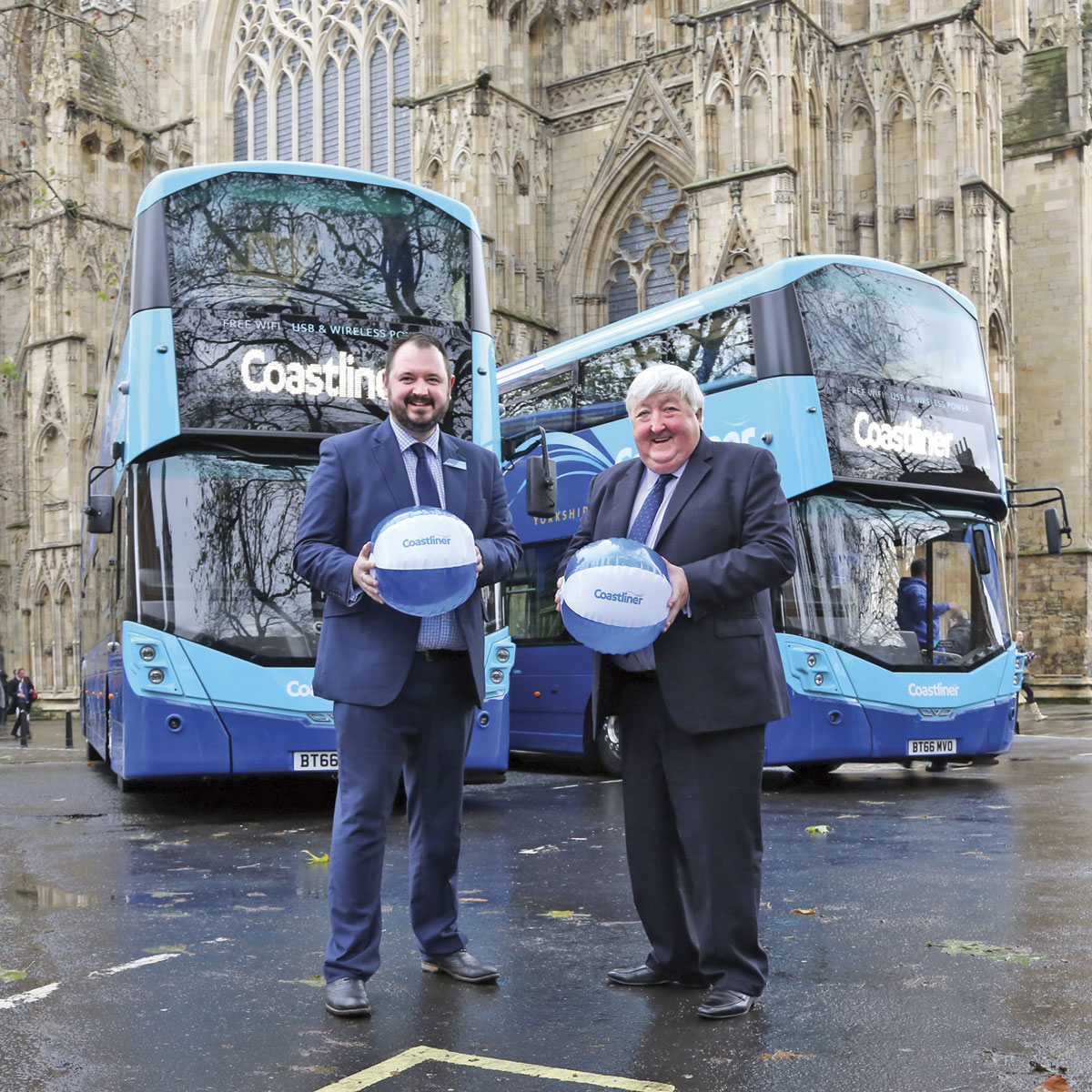 Transdev CEO, Alex Hornby and Executive Member for Transport and Planning at City of York Council, Councillor Ian Gillies with Coastliner beach balls