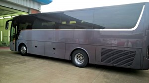 A Van Hool fresh out of the paintshop following a coating of Glasurit paint.
