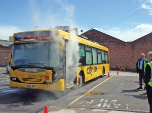 A bus filled with smoke for vehicle evacuation training, seen here at Nottingham City Transport.