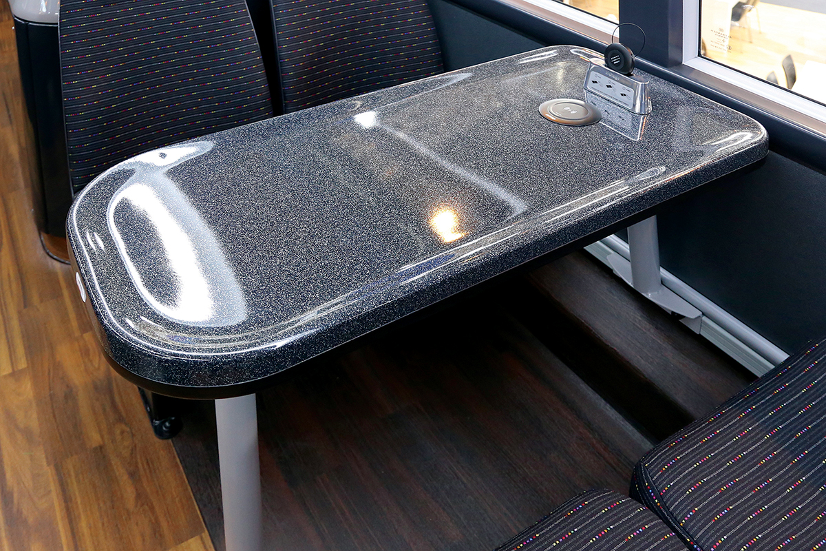 A table with Aircharge facility is installed on the upper deck.
