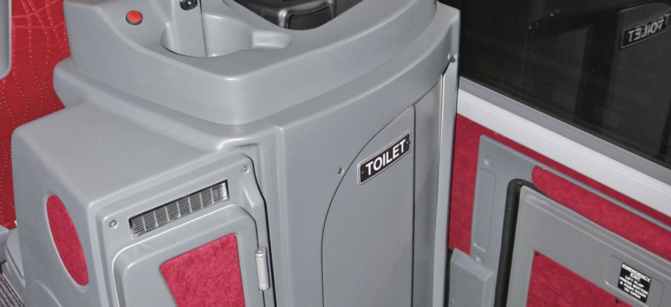 An optional 18.5inch Autosound monitor is mounted above the toilet compartment, with front loading fridge and drinks machine