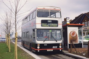 In as delivered condition, one of the guided MCW Metrobuses stands on the busway at Short Heath terminus and demonstrates the then innovative panic display available to the driver. Half of the vehicles had the three line electronic displays