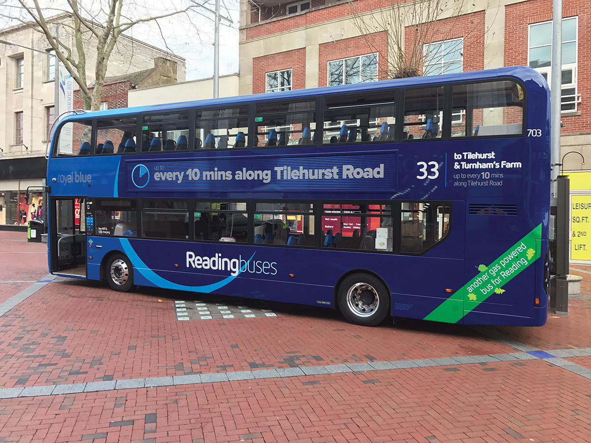In place on Broad Street with green 'another gas powered bus for Reading' flash prominent.