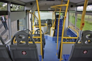 John said small buses can be designed to be just as light, airy and modern as larger buses, as demonstrated by the Strata LF's interior.