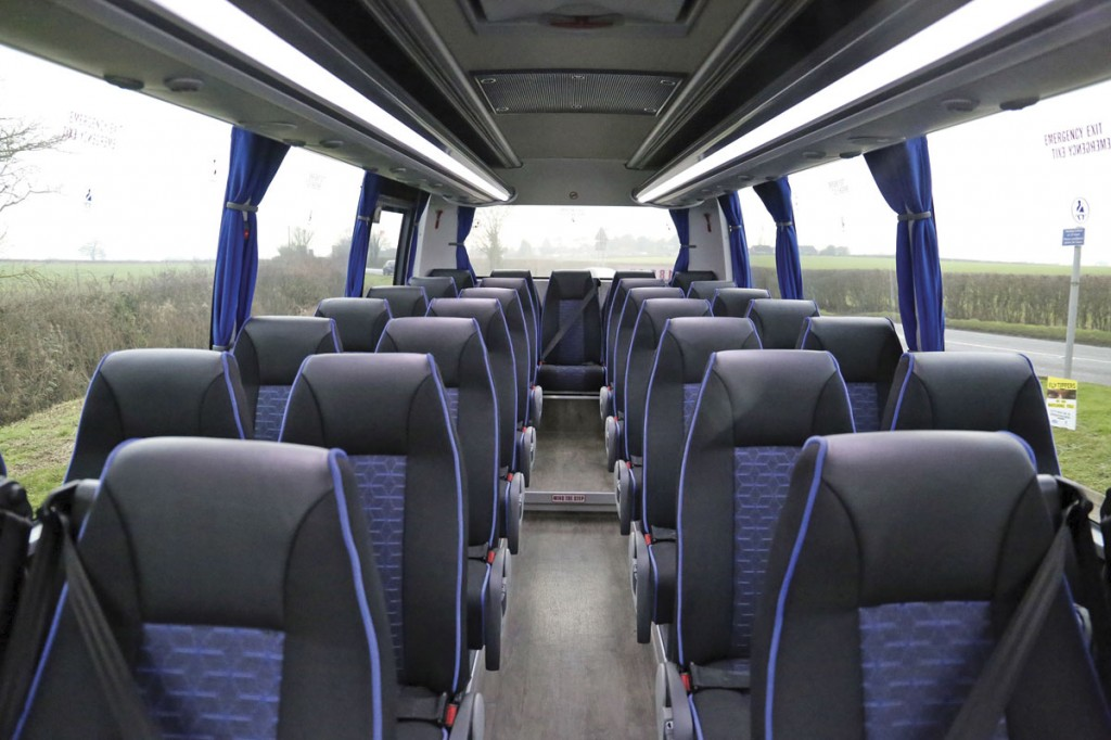 LED lighting from the rack units illuminates the 29 seat interior