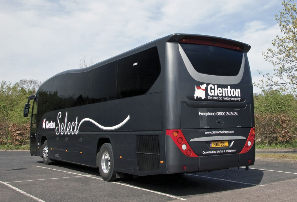The company operate coaches for Glasgow based Glenton Holidays. The 'select'  service is a premium door to door service and this Volvo B9R Plaxton Elite is part of the Moffat & Williamson tour fleet-img2