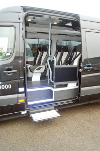 The entrance to the Sprinter features LED step lighting and an electric door.