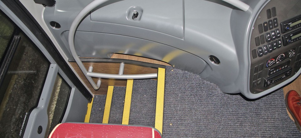 The front stairwell. Note the bar for the courier's feet and the dash locker