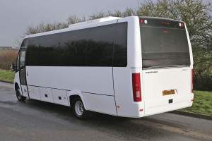 The nearside rear showing the large windscreen